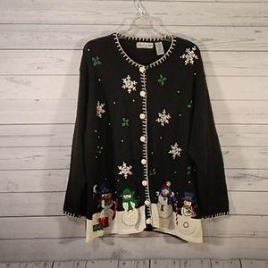 Victoria Jones snowman Christmas winter sweater 2X